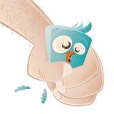 Terrified cartoon bird royalty free illustration