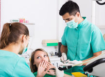 Terrified client in dental clinic Royalty Free Stock Images