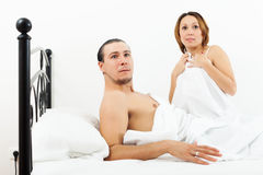 Terrified couple caught during adultery Royalty Free Stock Photo