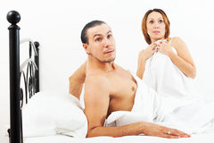 Terrified couple caught during sex Royalty Free Stock Photo