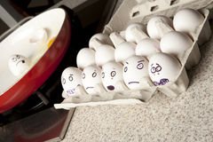 Terrified eggs Royalty Free Stock Image