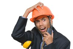 Terrified foreman Royalty Free Stock Photo