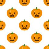 Terrified Halloween Pumpkin Icon Seamless Stock Images