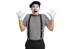 Terrified mime artist Stock Photography