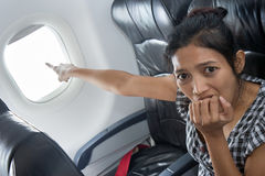 Terrified passenger Royalty Free Stock Image