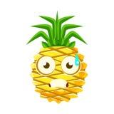 Terrified pineapple face. Cute cartoon emoji character vector Illustration Royalty Free Stock Photos