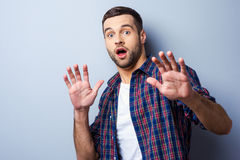 Terrified with something. Stock Photos