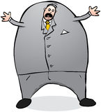 Terrified stock market worker or boss cartoon character illustration Stock Image