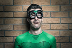 Terrified superhero Stock Images