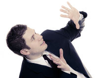 Terrified or surprised business man isolated Stock Images