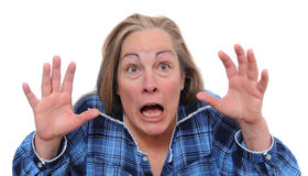 Terrified woman. Insane woman screaming for her life in shock and fear. Isolated on white background Stock Photo