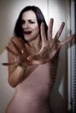 Terrified woman. Protecting with hands, selective focus Royalty Free Stock Photos