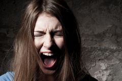 Terrified woman. Royalty Free Stock Photos