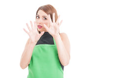 Terrified young employee doing a rejection gesture Stock Photos
