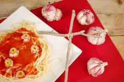 Terrifiying pasta Stock Image