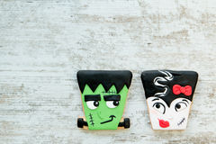 Terrifying couple. Halloween cookies with different shapes. Sweet tradition Stock Image