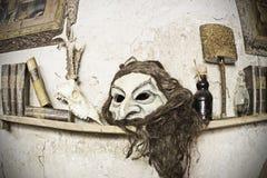Terrifying mask. Scary mask on old house, gothic decoration Royalty Free Stock Photos