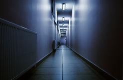 Terrifying night corridor in perspective Stock Photos