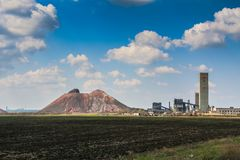 Terrikon矿在Voznesenka村庄  免版税图库摄影