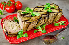 Terrine - casserole of meat, vegetables and pasta. Oven Baked meatloaf Royalty Free Stock Image