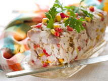 Terrine. Chicken terrine with vegetables, selective focus Stock Images