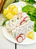 Terrine of curd with potatoes on board Stock Photo