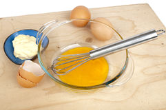 Terrine and egg yolks, eggs and bowl with mayonnaise Stock Images