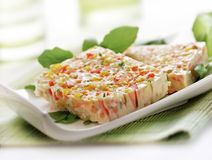 Terrine served on a plate. Terrine with vegetables served on a plate Stock Photography