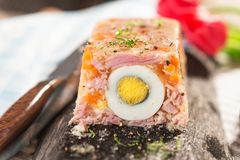 Terrine. With ham, egg, carrot and horseradish Stock Photography