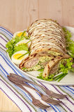 Terrine With Chicken, Cheese And Pancakes Stock Photo