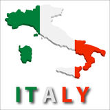 Território de Italy com textura da bandeira. Fotos de Stock Royalty Free
