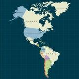Território do continente de America do Norte, Canadá, Alaska, México, Ámérica do Sul Fundo escuro Ilustração do vetor ilustração do vetor