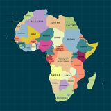 Territoire de l'Afrique avec la découpe et la couleur d'isolement du pays Illustration de vecteur illustration libre de droits