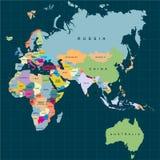Territoire des continents - Afrique l'Europe Asie l'Eurasie Australie Fond foncé Illustration de vecteur illustration de vecteur