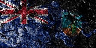 Territoires d'outre-mer britanniques - drapeau mystique fumeux de Montserrat sur le vieux fond sale de mur illustration libre de droits