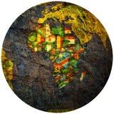 Territoires de pays africains sur la carte de globe Photographie stock libre de droits