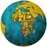 Territoires de pays africains sur la carte de globe Images stock