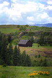 Territoriell sikt med den lantliga gamla ladugården Royaltyfria Bilder