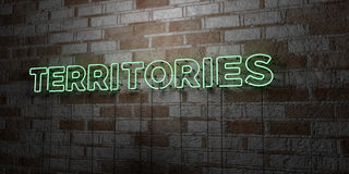 TERRITORIES - Glowing Neon Sign on stonework wall - 3D rendered royalty free stock illustration Royalty Free Stock Photo