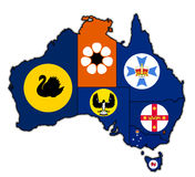 Territories on map of australia Royalty Free Stock Photos