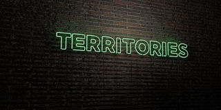 TERRITORIES -Realistic Neon Sign on Brick Wall background - 3D rendered royalty free stock image Royalty Free Stock Image