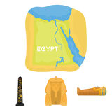Territoriet av Egypten, sfinxen, sarkofaget för farao` s, den egyptiska pelaren med inskriften forntida egypt stock illustrationer