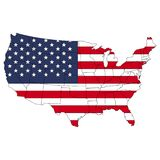 Territorio degli Stati Uniti d'America con il contorno e la bandiera illustrazione vettoriale