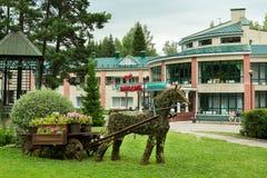 Territorio del sanatorio Transsib a stazione turistica di Belokurikha nel Altai Krai Fotografie Stock Libere da Diritti