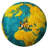Territorio della Francia con la bandiera sopra la mappa del globo Immagini Stock