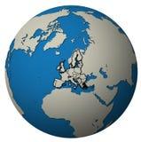 Territorio di Unione Europea sopra la mappa del globo Immagine Stock