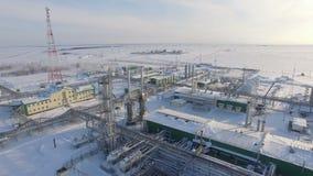 Territorio sitiado por la nieve grande de la fábrica de la producción de la visión panorámica almacen de video