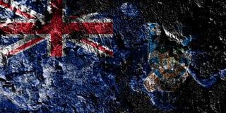 Territorios de ultramar británicos - bandera mística ahumada de Falkland Islands en el viejo fondo sucio de la pared stock de ilustración
