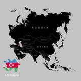 Territorium av Azerbajdzjan på den Asien kontinenten azerbaijan flagga också vektor för coreldrawillustration stock illustrationer