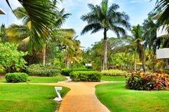 Territorium av hotellet Catalonia kungliga Bavaro i Dominikanska republiken Arkivfoton